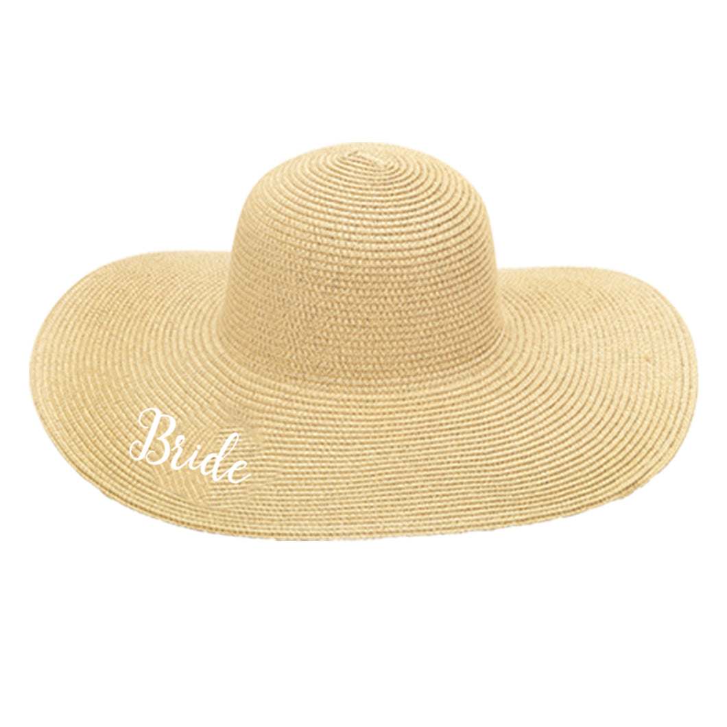 Bride Embroidered Floppy Hat