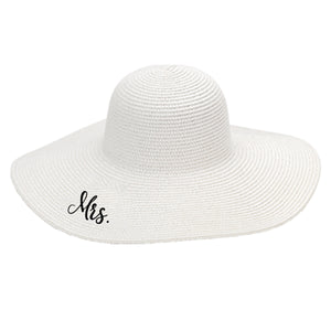 White Mrs Embroidered Floppy Hat