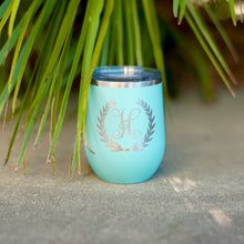 Single Initial Wreath Wine Tumbler
