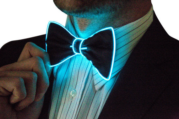 Neon Bow Tie, Neck, Glow Day or Night, Light Up, Rave Wear, Tron, Costume, LED, Batteries