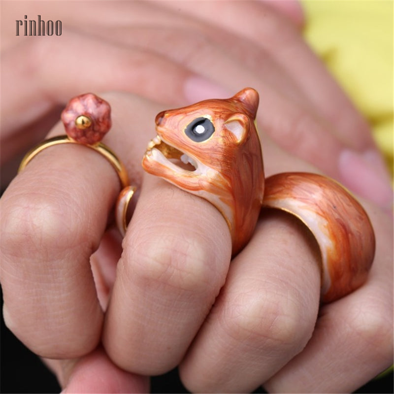 3Pcs/Adjustable Cute Squirrel ring Tiny Animal Squirrel Enamel Ring Women Jewelry