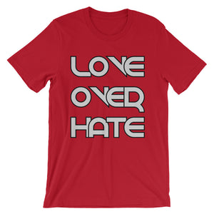 Love Over Hate:Unisex short sleeve t-shirt