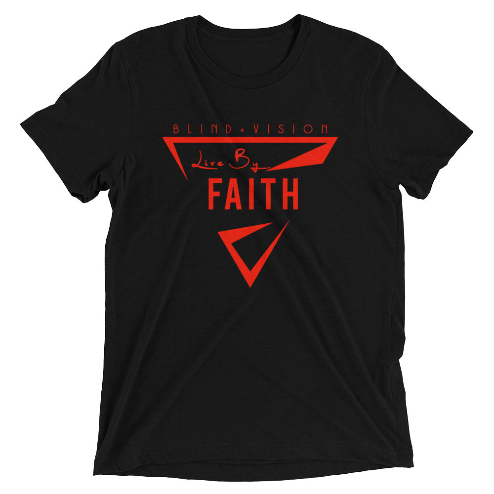 Live By Faith: Red logo/ tri-blend Short sleeve t-shirt