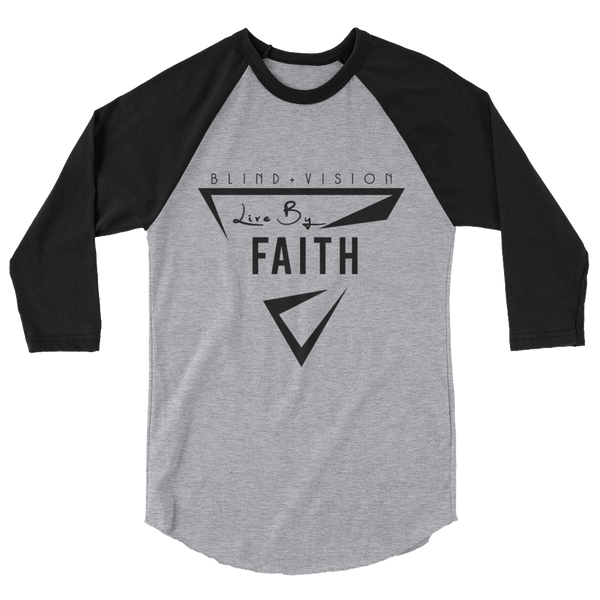 Grey & Black  Faith 3/4 sleeve raglan shirt