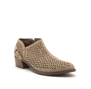 Nadia Perforated Bootie - taupe