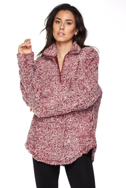 Jacque Fleece Pullover - burgundy