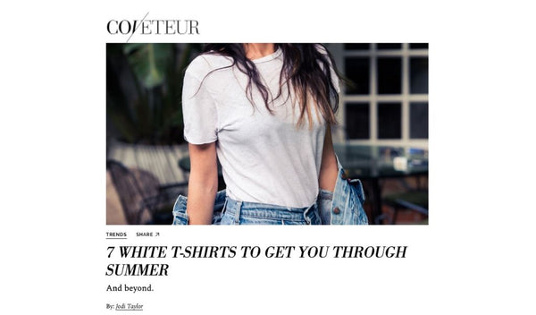 Standard Issue Tees in White Featured in Coveteur's 7 White T-Shirts To Get You Through Summer