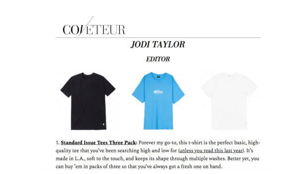 "Coveteur Editor Jodi Taylor Picks Standard Issue Tees as One of Her ""12 T-SHIRTS WE LOVE FOR SPRING"""