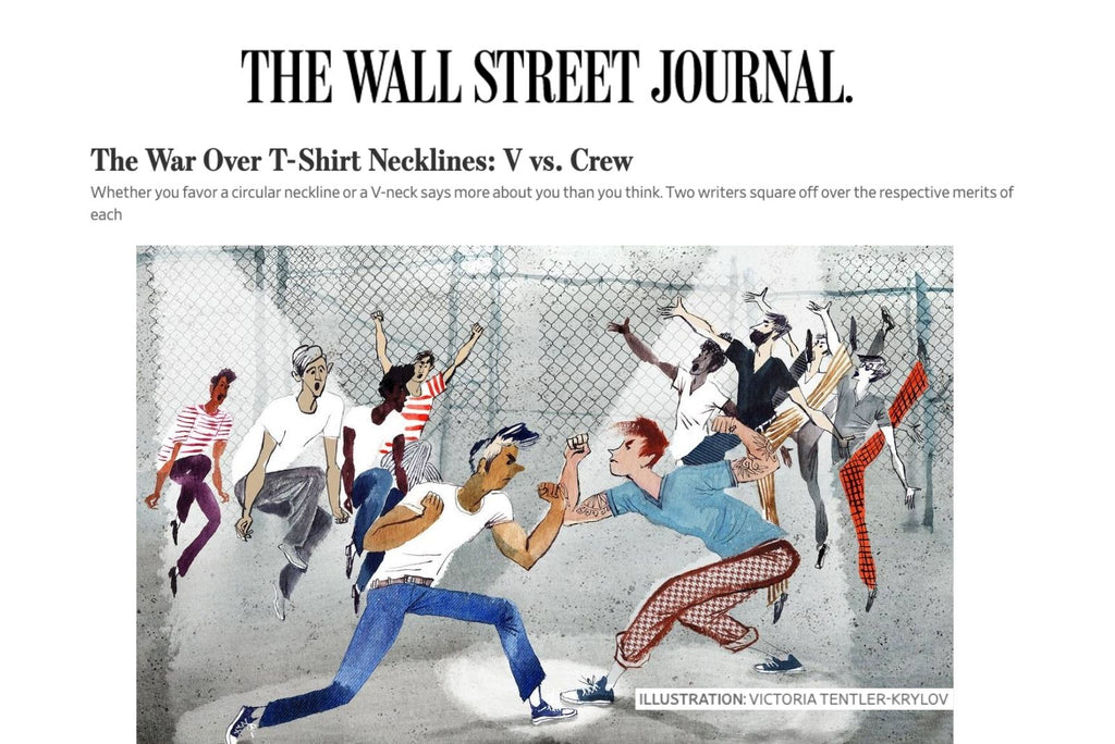 Wall Street Journal The War Over T-Shirt Necklines: V vs. Crew