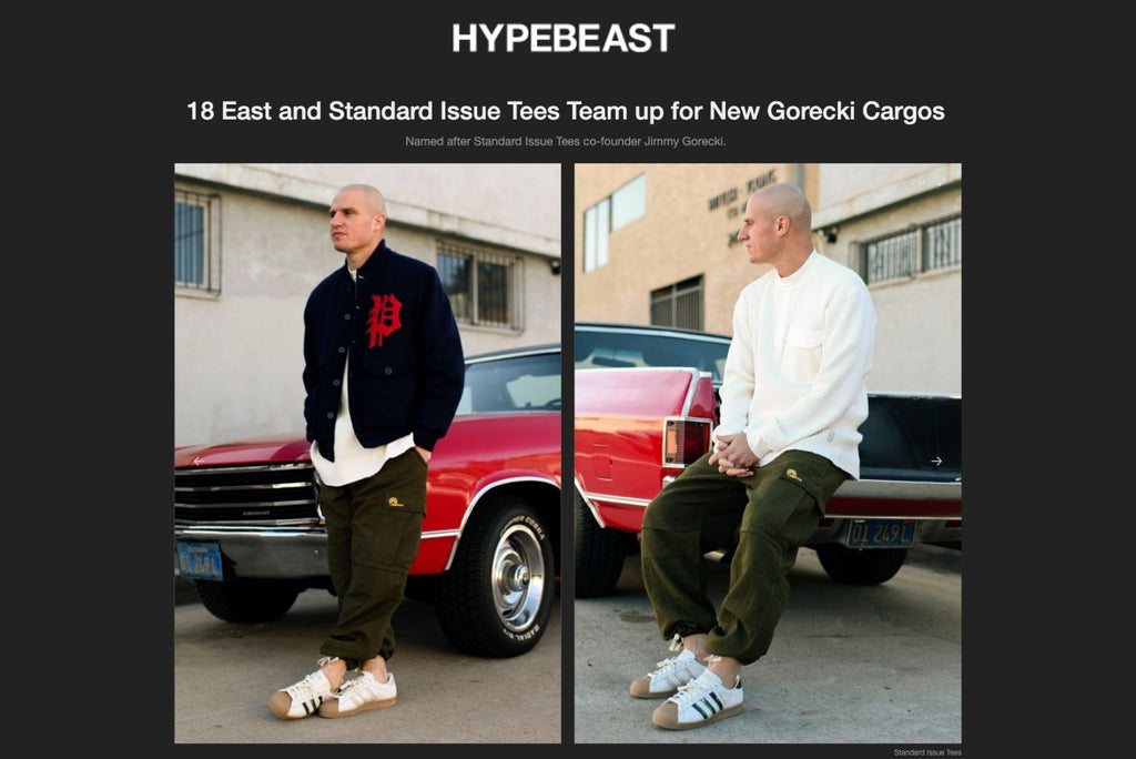 18 East and Standard Issue Tees Team up for New Gorecki Cargos