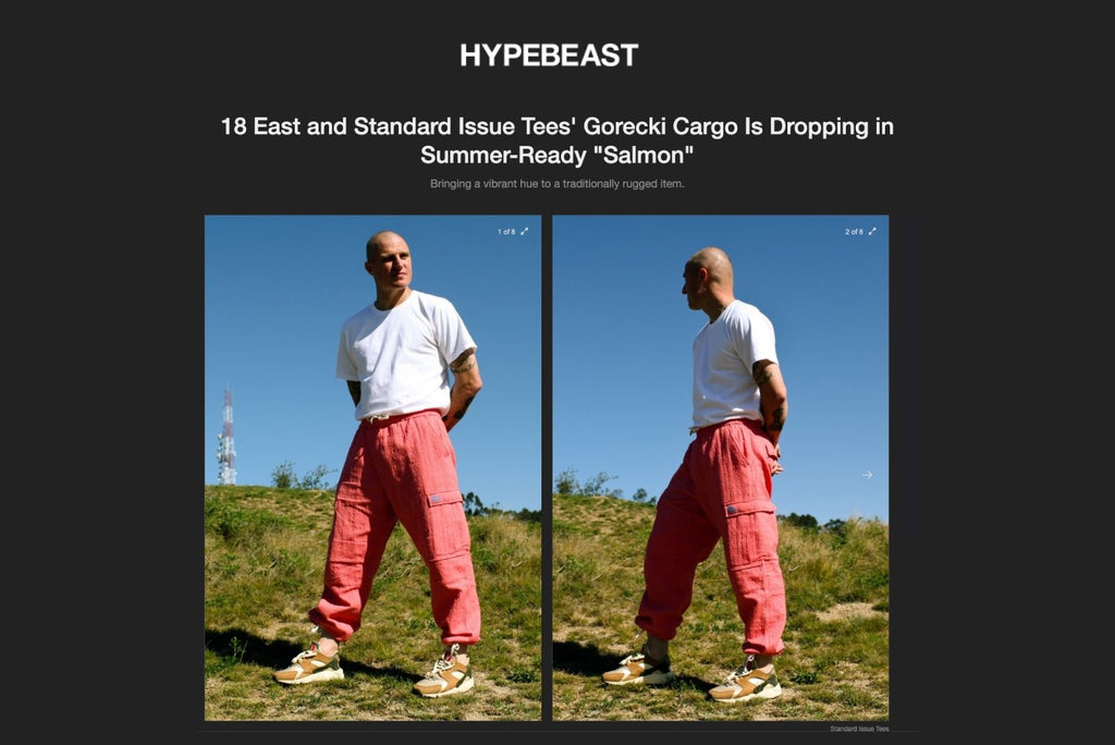 """Hypebeast 18 East and Standard Issue Tees' Gorecki Cargo Is Dropping in Summer-Ready """"Salmon"""""""