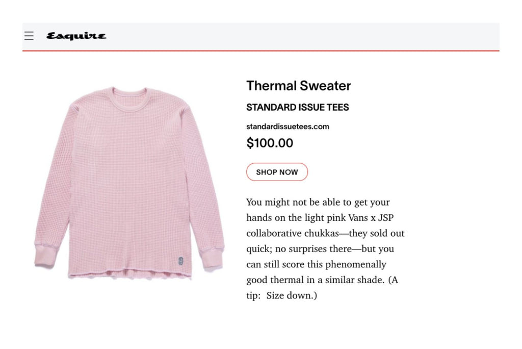 Thermal Sweater Standard Issue Tees Esquire Article