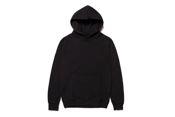 MID WEIGHT ORGANIC FLEECE HOODY BLACK