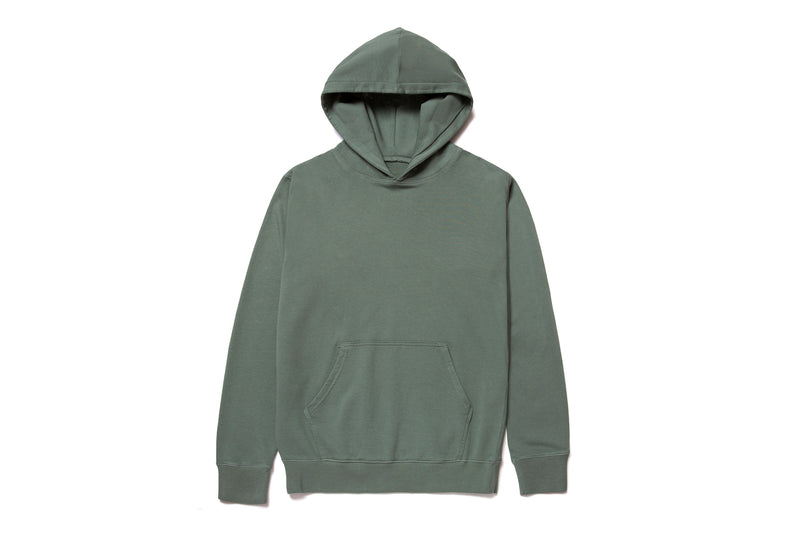 MID WEIGHT ORGANIC FLEECE HOODY MOSS