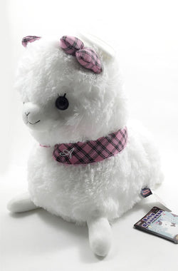 "Amuse 13"" Alpacasso sitting Plush - White with pink bow Super Anime Store"