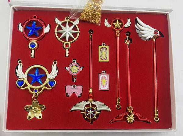 Card Captor Sakura Keychain Necklace Set - Super Anime Store FREE SHIPPING FAST SHIPPING USA