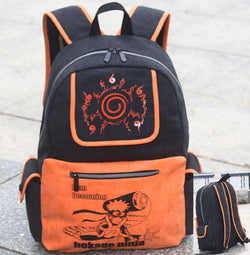 Naruto Black and Orange Backpack Bag - Super Anime Store FREE SHIPPING FAST SHIPPING USA