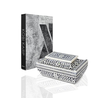 CONTRASTO 2PC SET <br> Black & Ivory Inlaid Box and Designer Book