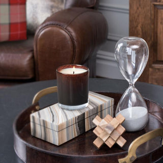 PARK CITY 4PC & 5PC SETs <br>Redwood Candle, Decorative Box, Wooden Sculpture, Hourglass, Leather Tray (5PC Only)