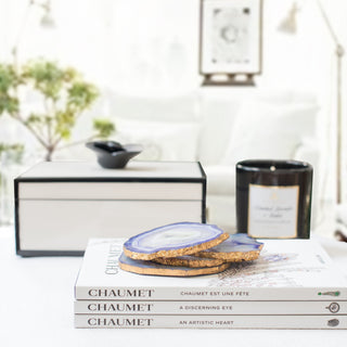AMELIE 9PC SET <br>Lacquer Box, Agate Coasters, Books & Candle