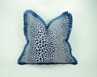 Blue Leopard Print Pillow Cover with Blue Brush Fringe
