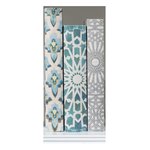 Individual Product - ALHAMBRA DECORATIVE BOOKS THREE VOLUME SET <br>Blue Hamsa, Green Sunburst, Gray/Natural Blue