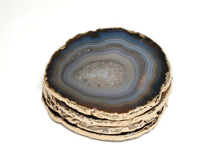 Individual Product - BLACK AGATE COASTERS WITH GOLD FOIL (Set Of 4)