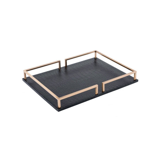 Individual Product - BLACK & GOLD ALLIGATOR TRAY- RECTANGULAR