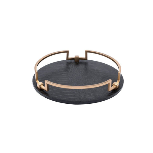 Individual Product - BLACK & GOLD ALLIGATOR TRAY- ROUND