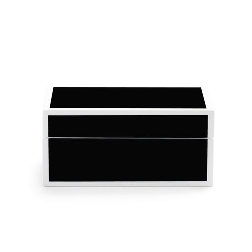 Individual Product - BLACK LACQUER KEEPSAKE BOX WITH WHITE TRIM