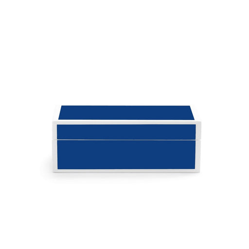 Individual Product - BLUE LACQUER BOX WITH WHITE TRIM - SMALL