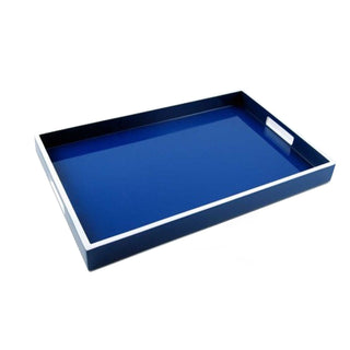 Individual Product - BLUE LACQUER TRAY WITH WHITE TRIM