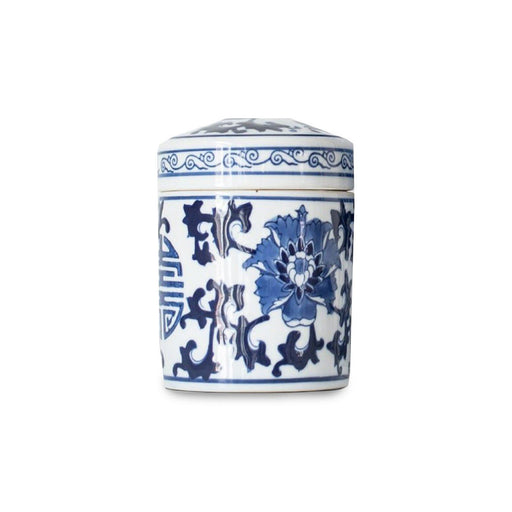 Individual Product - BLUE & WHITE CERAMIC TEA CADDY WITH LID
