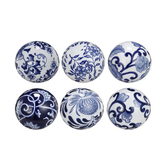 Individual Product - BLUE & WHITE PORCELAIN SPHERES - Set Of 6