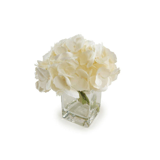 Individual Product - IVORY HYDRANGEA IN GLASS VASE 7""