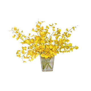 Individual Product - LARGE YELLOW ORCHID BOUQUET IN GLASS VASE 18""