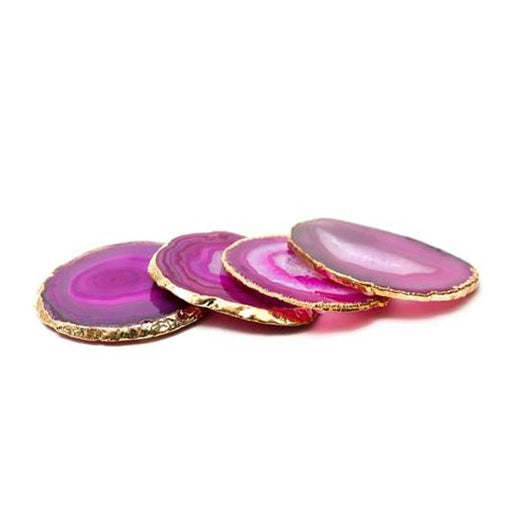 Individual Product - PINK AGATE COASTERS WITH GOLD (Set Of 4)