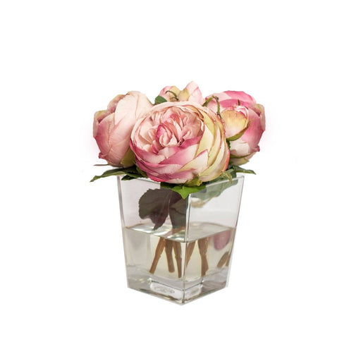 Individual Product - PINK CABBAGE ROSES IN GLASS VASE 9""