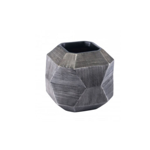 Individual Product - TEXTURED GRAY MODERN VASE - SHORT