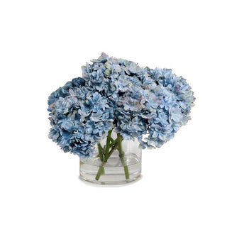 Individual Product - TRIPLE BLUE HYDRANGEA IN GLASS VASE 9""