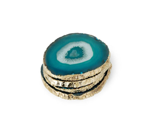 Individual Product - TURQUOISE AGATE COASTERS WITH GOLD (Set Of 4)