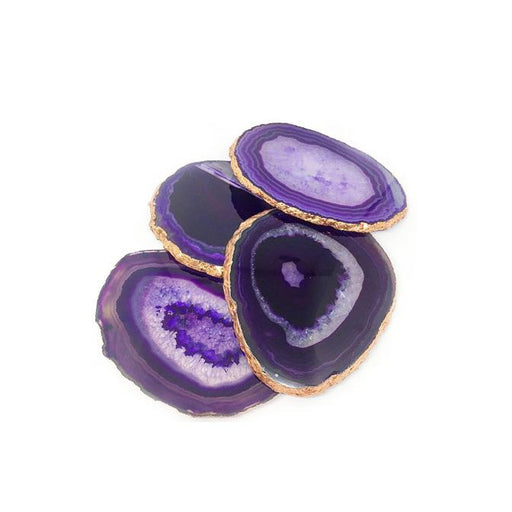 Individual Product - VIOLET AGATE COASTERS WITH GOLD (Set Of 4)