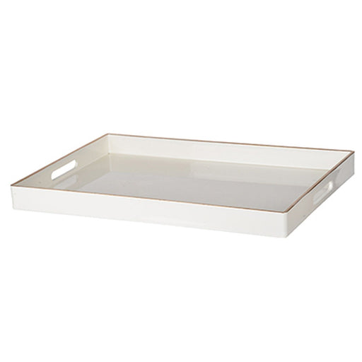 Individual Product - WHITE ACRYLIC TRAY WITH GOLD TRIM