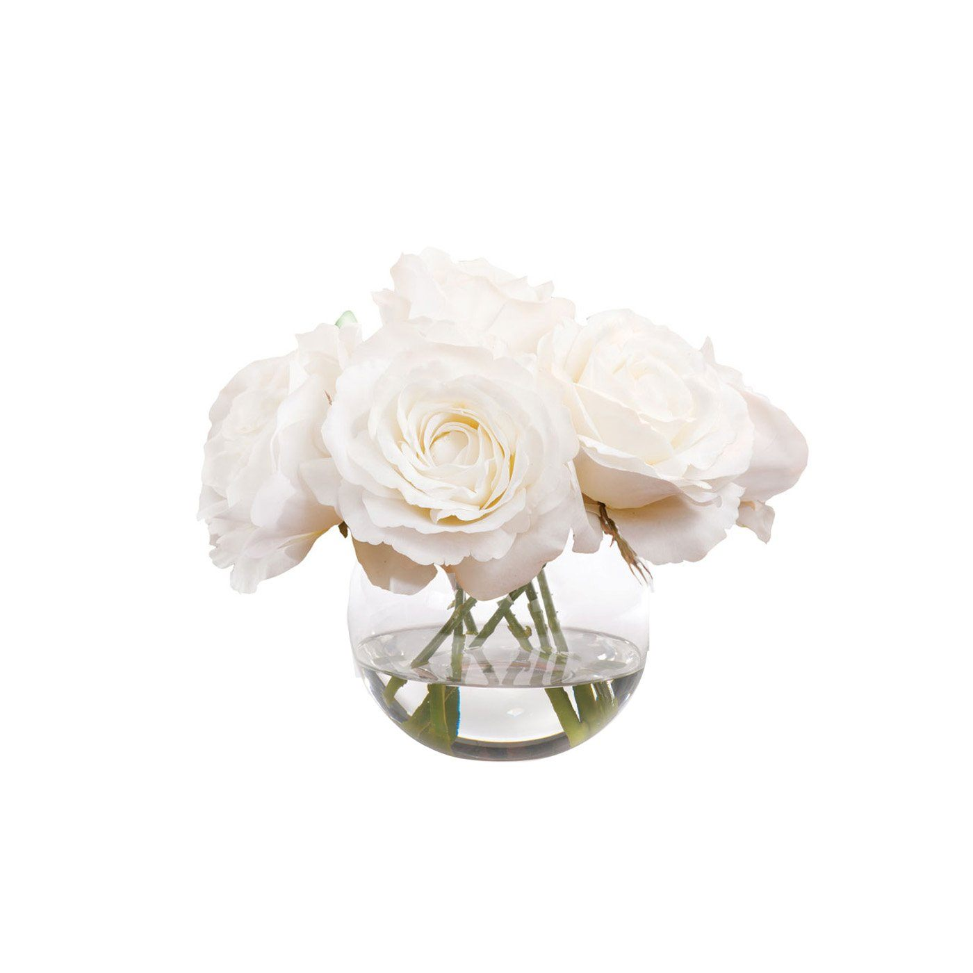 White Roses In Petite Round Glass Vase 8 Nestset
