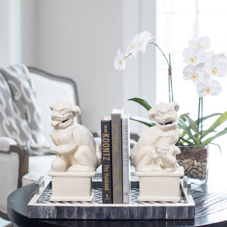 Sets - AMBER 7PC Set <br>Foo Dog Bookends, Antique Books, Chevron Tray, Orchid