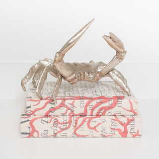 Sets - CHESAPEAKE 3 PC SETS <br>Nickel Crab Sculpture, Coral Handwrapped Books