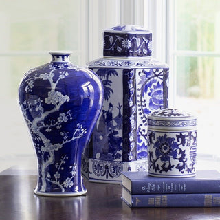 Sets - EMPRESS 6PC SET <br>Blue & White Ceramic Jars & Decorative Books