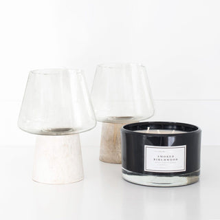 Sets - JONAS 3PC SET <br>Wood & Glass Hurricane Jars, Candle