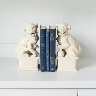 Sets - KUBLAI  5 PC Set  <br>Foo Dog Bookends, Navy Blue Antique Books