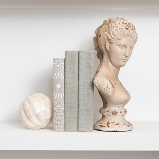 Sets - MADELINE 5 PC SET <br>Ivory Sphere, Books And Bust Sculpture